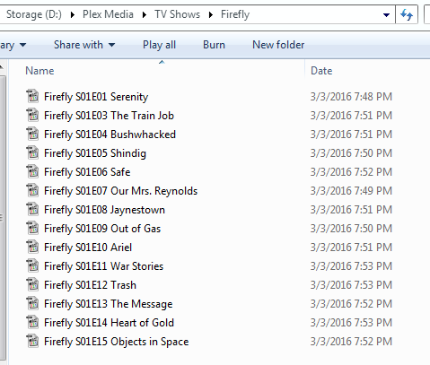 Cannot get Emby to recognize a single show (Firefly) at all