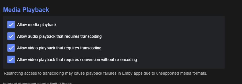 Disable transcoding globally on server - Linux - Emby Community