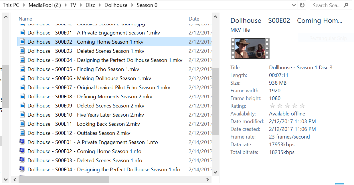 File structure for TV season extras? - General/Windows
