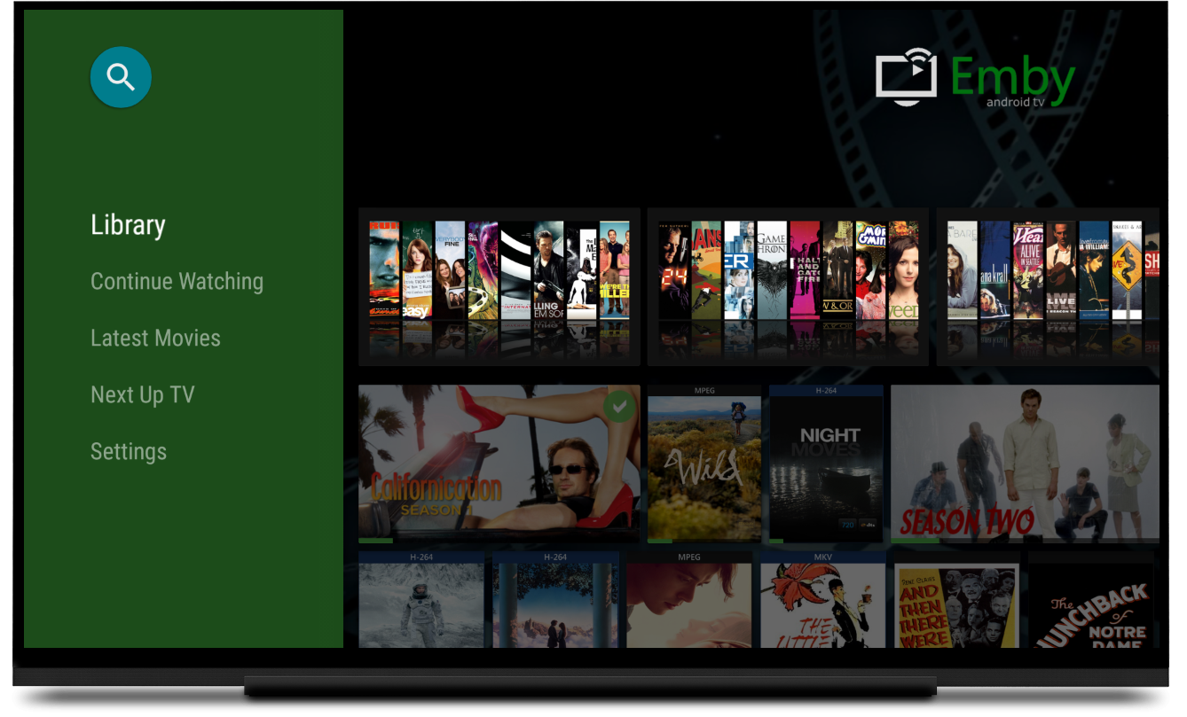 emby media library android tv