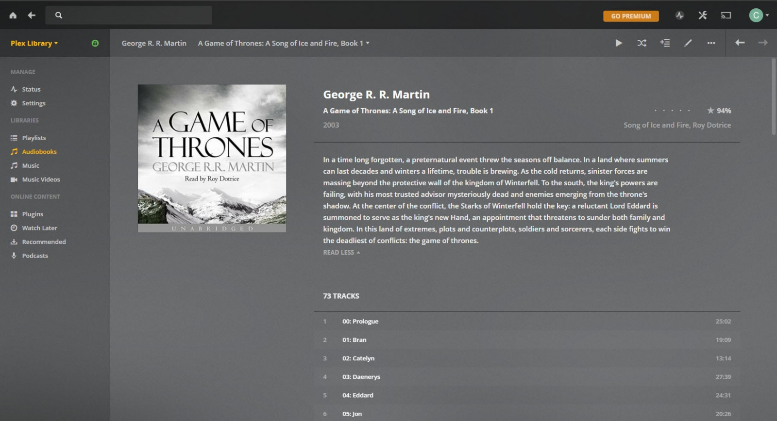 Audio Book feature request or tweak suggestion - Emby Server