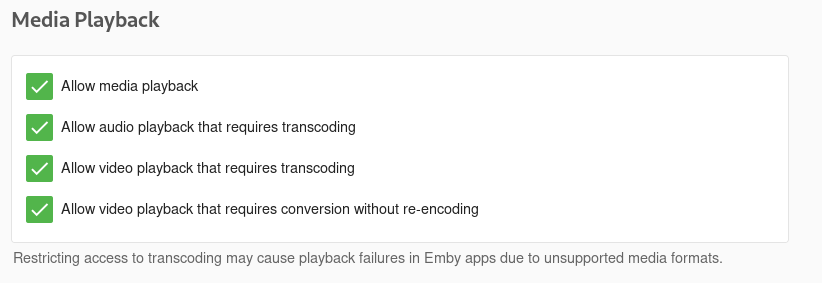 Emby transcode MKV media without audio via web browsers