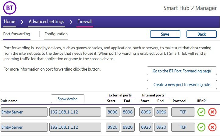 BT Smart Hub 2 port forwarding page.jpg